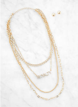 Royalty Layered Chain Necklace with Stud Earrings - 3123062927165