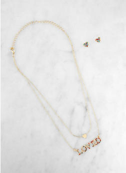Layered Loved Charm Necklace with Stud Earrings - 3123062927505