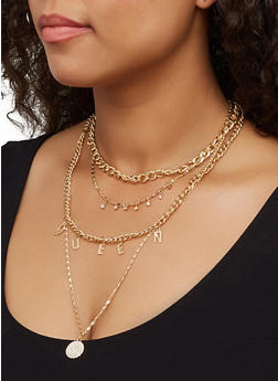 Queen Layered Chain Necklace with Stud Earrings - 3123062928232