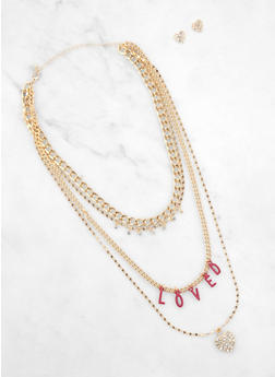 Loved Heart Layered Necklace with Heart Earrings - 3123062928234