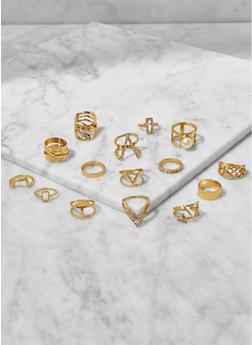 Assorted Metallic Rhinestone Rings Set - 3123062928407