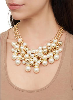 Faux Pearl Cluster Necklace and Drop Earrings Set - 3123062929619