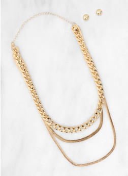 Layered Chain Collar Necklace with Stud Earrings - 3123062929802
