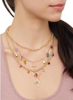 Rose Charm Layered Necklace and Stud Earrings - 3123062929854