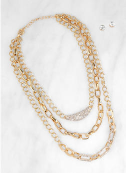 Rhinestone Layer Chain Necklace with Stud Earrings - 3123062929857