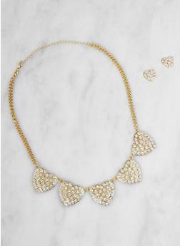 Rhinestone Heart Necklace with Stud Earrings Set - 3123071210481