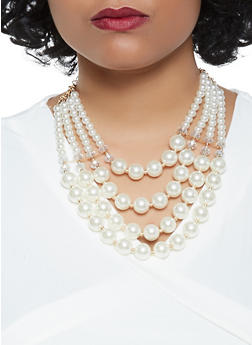 Layered Faux Pearl Necklace with Matching Earrings - 3123071212713