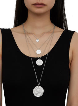 Metallic Disc Layered Necklace - 3123071217202