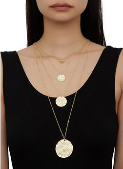 Metallic Disc Layered Necklace - 3123071217202