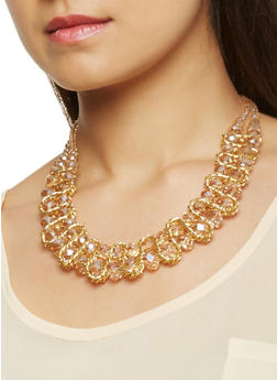 Beaded Chain Necklace with Matching Earrings - 3123071217357