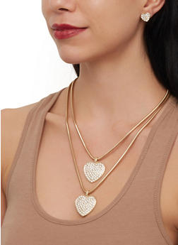 Heart Layered Snake Chain Necklace and Stud Earrings - 3123071218076