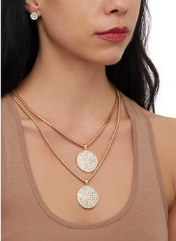Layered Metallic Disc Necklace and Stud Earrings - 3123071218078
