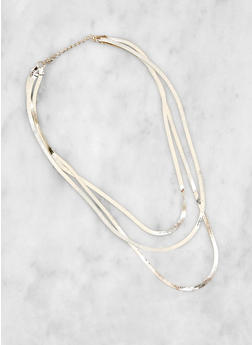 Layered Flat Chain Necklace - 3123071431015