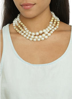 Faux Pearl Beaded Collar Necklace and Earrings - 3123071431217