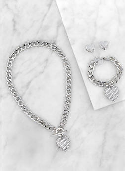 Rhinestone Heart Curb Chain Necklace and Bracelet with Stud Earrings - 3123071431315