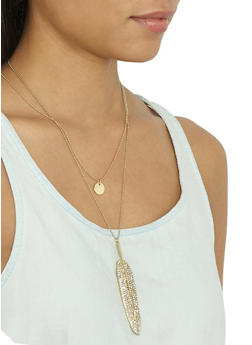 Rhinestone Feather Charm Necklace and Stud Earrings Set - 3123071431704