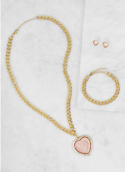 Heart Chain Necklace with Bracelet and Earrings Set - 3123071431715