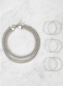 Metallic Necklace Trio with Hoop Earrings - 3123071432018