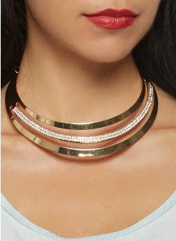 Rhinestone Cut Out Collar Necklace with Bangles and Hoop Earrings - 3123071432020