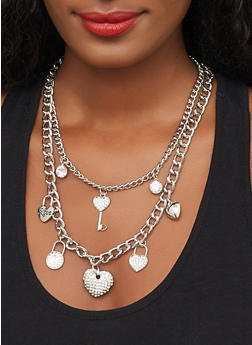 Layered Lock Charm Chain Necklace and Bracelet with Stud Earrings - 3123071432091