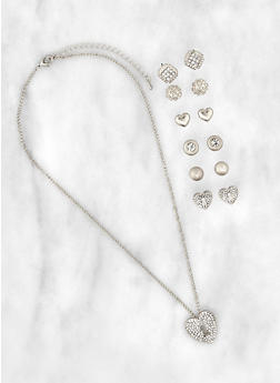 Heart Lock Charm Necklace with Assorted Stud Earrings - 3123071433345