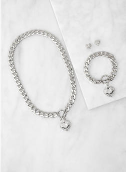 I Love You Curb Chain Necklace and Bracelet with Stud Earrings - 3123071433385