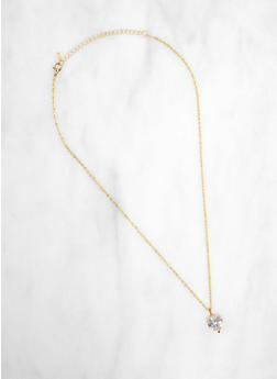 Rhinestone Heart Pendant Necklace - 3123071434122