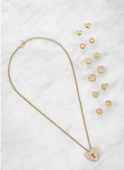 Heart Necklace with Assorted Stud Earrings - 3123071434305