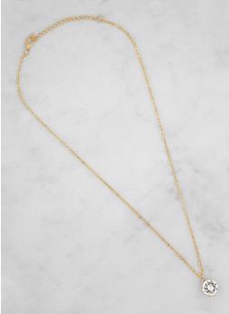 Round Rhinestone Charm Necklace - 3123071434512