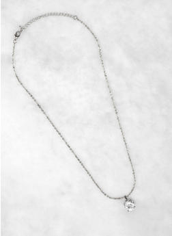 Round Rhinestone Charm Necklace - 3123071434521