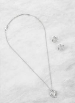 Rhinestone Heart Charm Necklace with Earrings - 3123071435018
