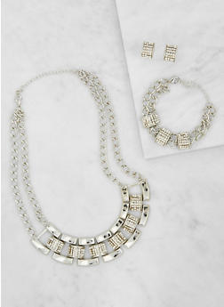 Metallic Rhinestone Necklace and Bracelet with Earrings - 3123071435132