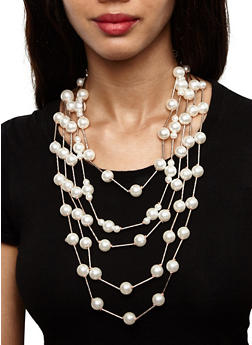 Faux Pearl Layered Necklace and Earrings - 3123071435134