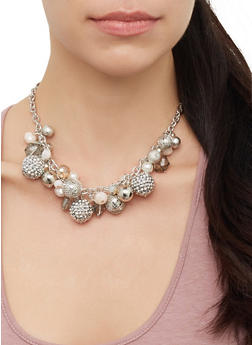 Beaded Collar Necklace and Drop Earrings Set - 3123071435181