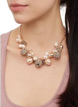 Beaded Faux Pearl Collar Necklace and Drop Earrings Set - 3123071435181