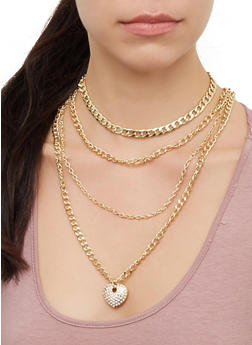 Layered Metallic Chain Necklace - 3123071435184