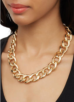 Curb Chain Choker and Stud Earrings Set - 3123071435185