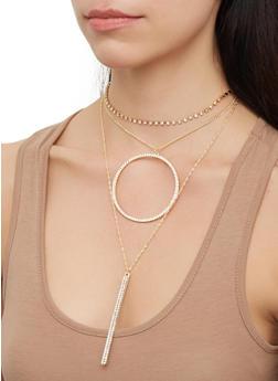 Circle Rhinestone Layered Choker and Earrings - 3123071435186