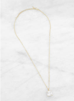 Square Rhinestone Charm Necklace - 3123071435247