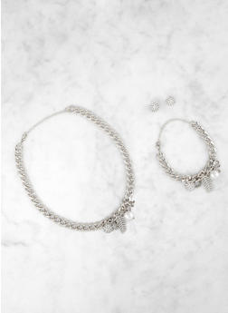 Multi Charm Curb Chain Necklace and Bracelet with Earrings - 3123071435501