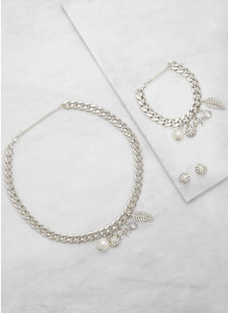 Charm Chain Necklace and Bracelet with Stud Earrings - 3123071435685