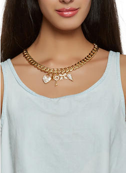 Charm Necklace with Bracelet and Earrings Set - 3123071436025