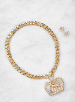 Rhinestone Heart Curb Chain Necklace and Earrings - 3123071436484