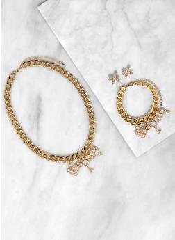 Rhinestone Bow Charm Necklace Bracelet and Stud Earrings - 3123071436510