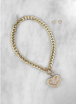 Metallic Heart Toggle Necklace and Stud Earrings Set - 3123071436685