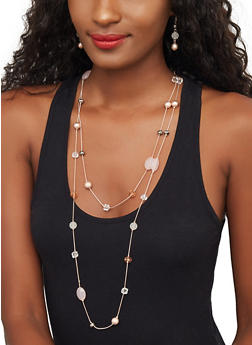 Beaded Long Necklace and Drop Earrings - 3123071437102