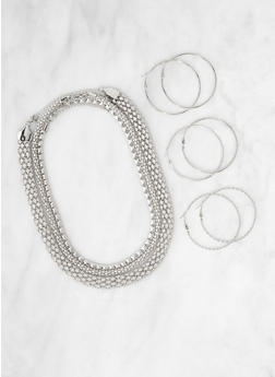 Metallic Necklaces and Hoop Earring Trio - 3123071438102
