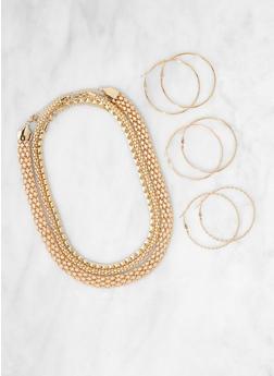 Metallic Necklaces and Hoop Earring Trio - 3123071438102
