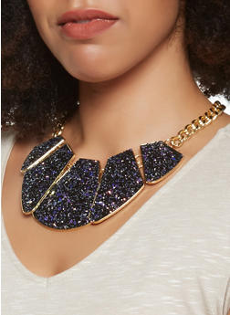 Metallic Glitter Statement Necklace with Stud Earrings - 3123072420594