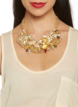 Metallic Butterfly Bib Necklace - 3123072420691